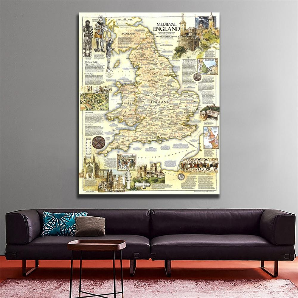 A2 Size Fine Canvas Vinyl Painting HD Printed Wall Art Map Of Medieval England Roll Packaged Crease-free Map
