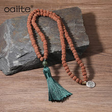 OAIITE Mindful Mala Rudraksha Necklace 108 Beads natural Picture Stone Yoga Prayer Necklace for women & man(China)