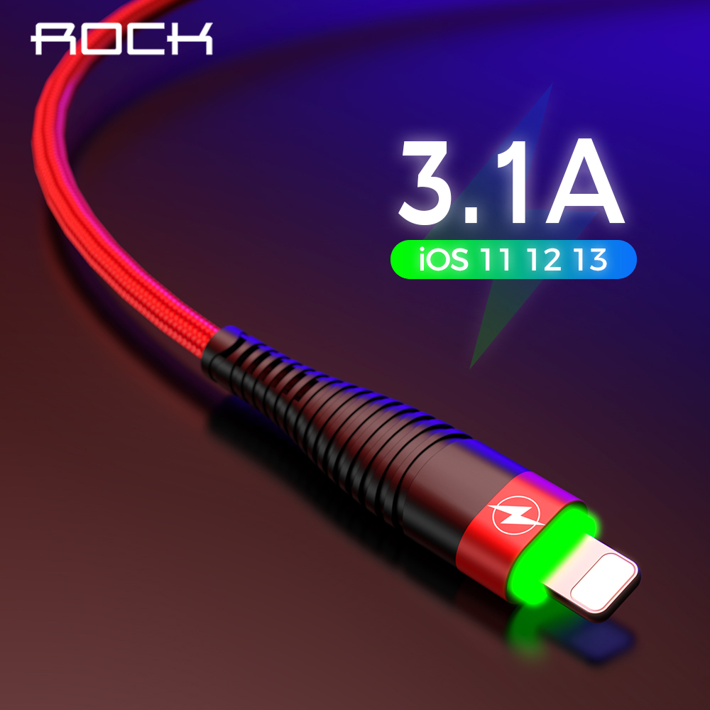 ROCK Metal Led Light USB Cable for iPhone Xs MAX Xr X 8 7 6 6s Plus Fast Charging For