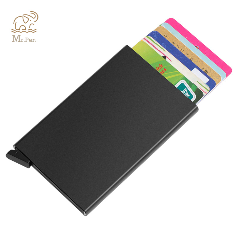 Portable Automatic Slide Aluminum ID Cash Card Holder Business RFID Blocking Wallet Credit Card Protector Case Purse Custom Logo