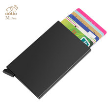 Portable Automatic Slide Aluminum ID Cash Card Holder Business RFID Blocking Wallet Credit Card Protector Case Purse Custom Logo(China)