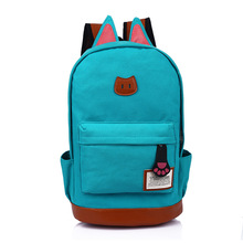 Women's backpack 2019 new fashion casual canvas backpack cat ears zip men and women with the same backpack casual women s backpack with canvas and printed design