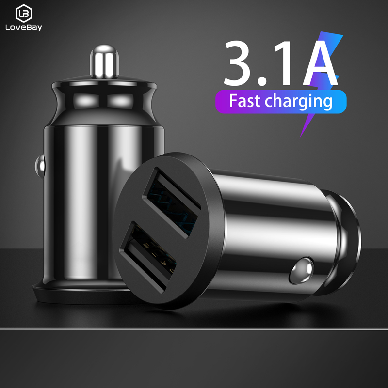 Lovebay Dual Usb Usb Car Charger Mini For Mobile Phone Tablet GPS 3.1A Fast Charger Car-Charger Car Phone Charger Adapter in Car