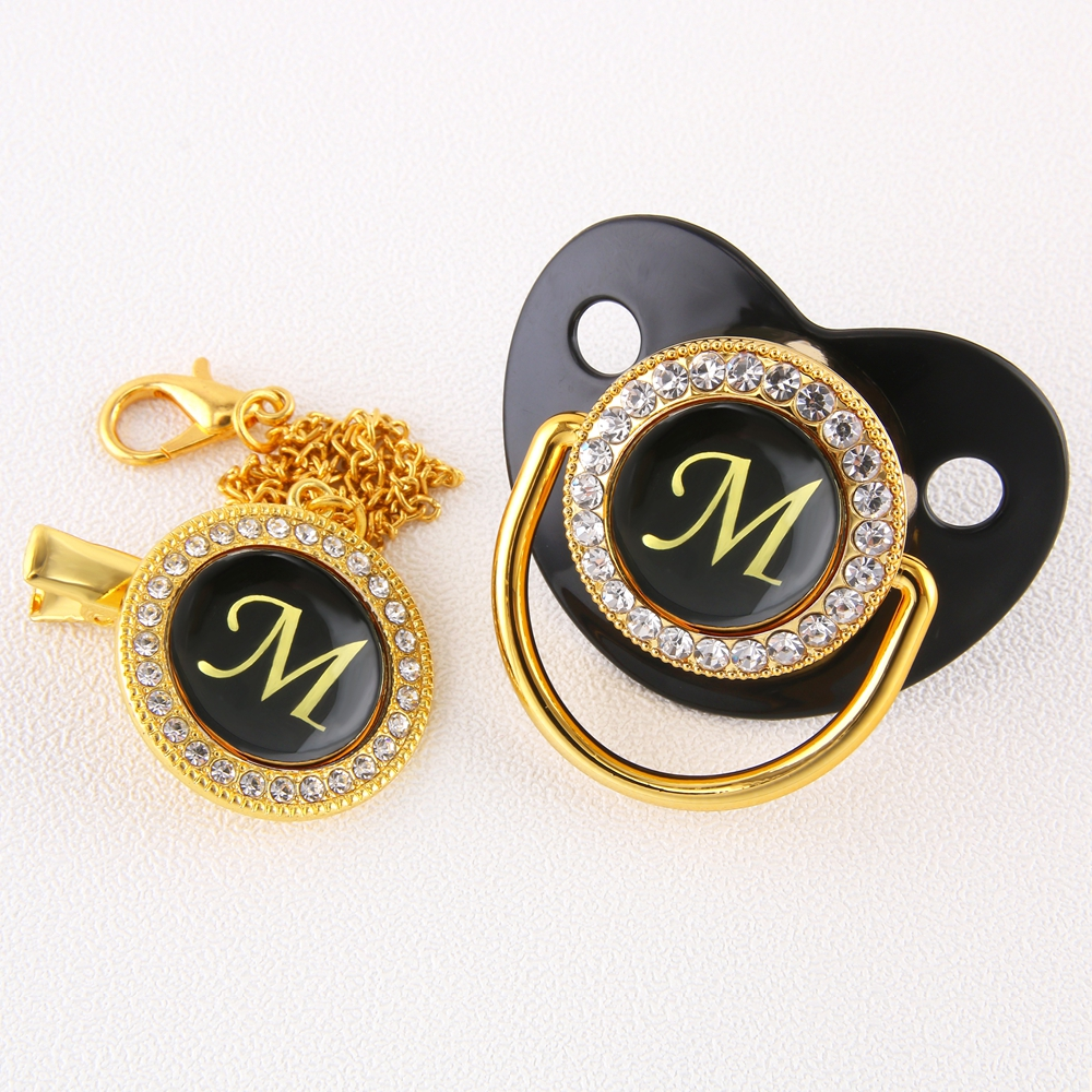 Luxury Black Bling Baby Pacifier And Clip Alphabet Letter M Infant Pacifier Gold Letter Unique 26 Name Initials Baby Shower Gift