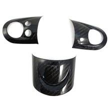 Cobertura do volante de carbono guarnição vara volante instrumento painel capa moldando para mini cooper r55 r56 r60 s