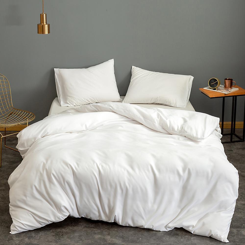 Bonenjoy Duvet-Cover Pillowcase Bedding Housse-De-Couette White-Color Single/Double/queen-size
