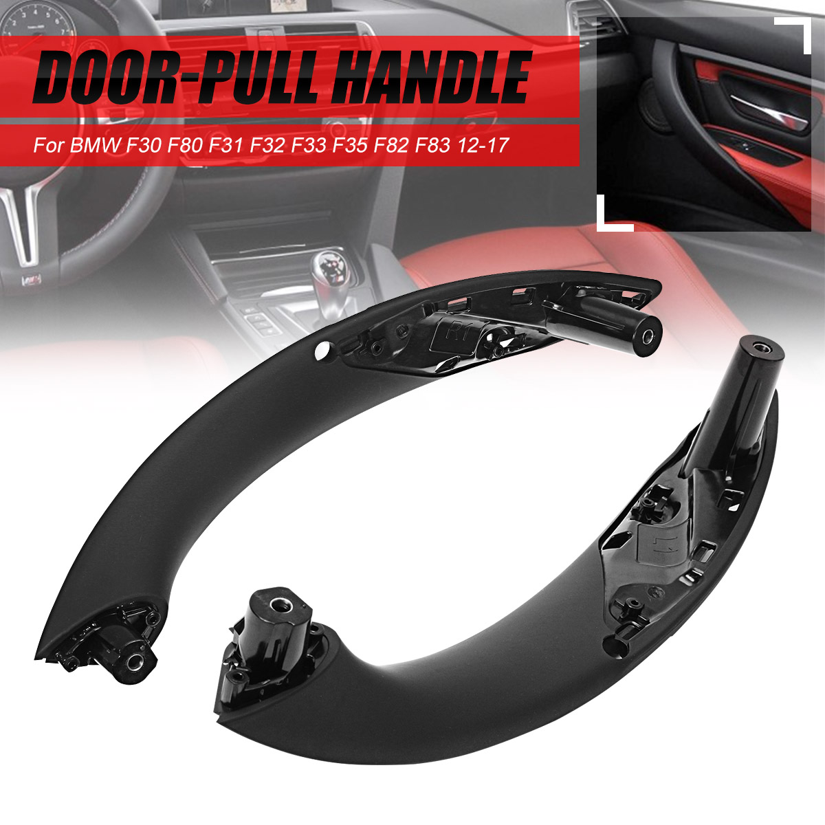 Cubierta de la manija de la puerta 4 piezas de la manija del tirador de la puerta interior del coche 51417279311 Ajuste para F30 F32 F34 F82 izquierda