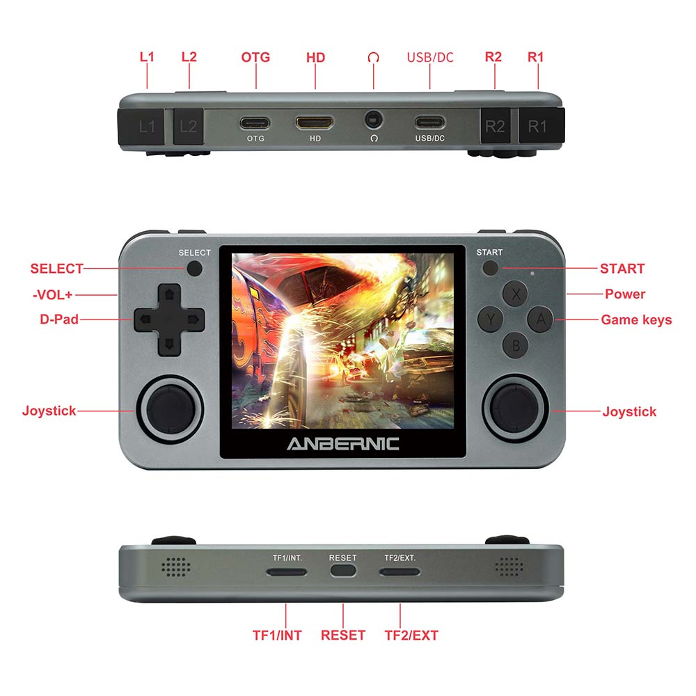 ANBERNIC Retro Game Player RG350M RG350 3.5 IPS 64Bit 32G TF 2500 Games RG 350 HDMI TV Output PS1 Portable Handheld Game Console 4