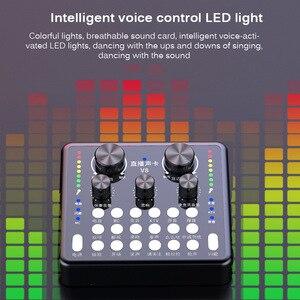 Voz luzes led profissional de ruído profissional computador equipamento de transmissão ao vivo placa de som adequado para android ios sistema