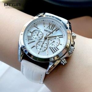 Image 4 - MEGIR2019 Neue Luxus Leder Uhr Frauen Weibliche Top Marke Chronograph Quarz Armbanduhr Dame Relogios Femininos Uhr 2114 Weiß