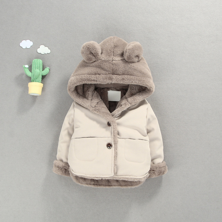 OLEKID Autumn Winter Baby Fleece Jacket Cartoon Hooded Plus Velvet Infant Boys Coat Newborn Baby Girls Outerwear Toddler Parka-in Jackets & Coats from Mother & Kids