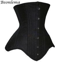 Beonlema-corsé steampunk para mujer, corsé gótico debajo del pecho, lencería de acero, negro, de talla grande, Ceñidor de cintura, novedad de 2020