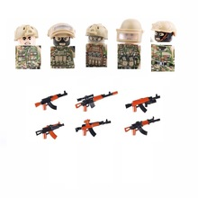 5PCS/lots Russian Alpha Modern Special Forces Soldier figures MOC SWAT City military weapons playmobil Building Block Mini toys