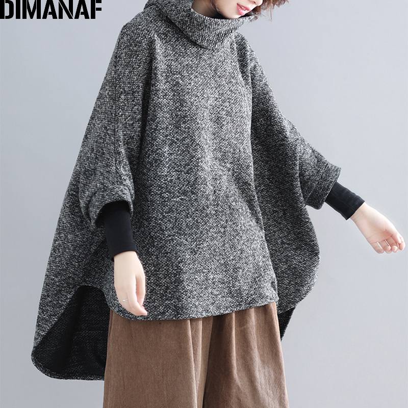 DIMANAF Plus Size Women Pullovers Vintage Female Tops Shirts Turtleneck Winter Thick Oversize Batwing Loose Sweatshirts Clothing