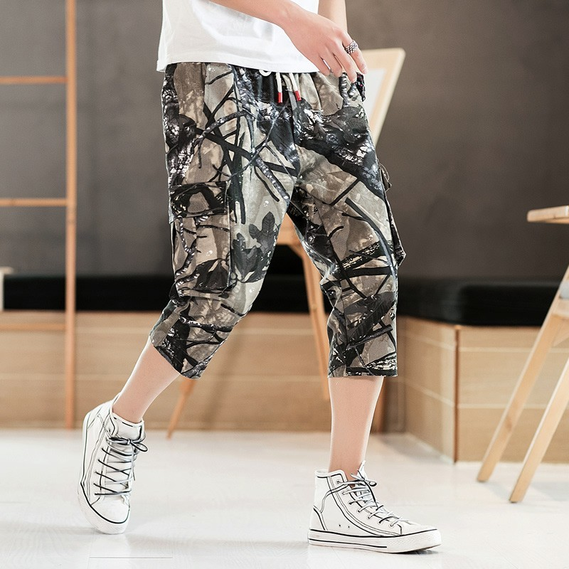 2020 Summer Camouflage Printed Mens Calf Length Pants Drawstring Waist Loose Pockets Male Plus Size Fashion Casual Sprots Pants