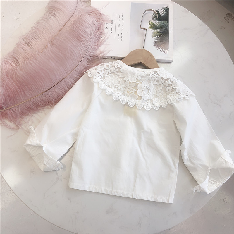 Child But Star Children Flounced Shirt 2019 Spring And Autumn Childrenswear Girls White Shirt Pure Cotton KID'S Jacket