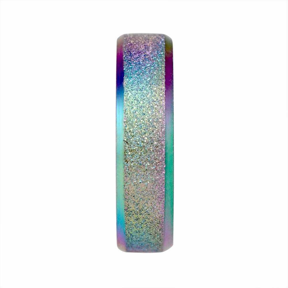 1 adet basit mat fırçalayın halka Unisex kadın erkek gökkuşağı renk halka renkli yüzükler takı aksesuarları sevgilisi hediyeler