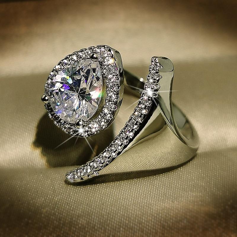 14K White Gold 2 Carats Diamond Ring for Women Fine Anillos De Bizuteria Bijoux Femme with Cushion Zirconia Gemstone Gold Rings
