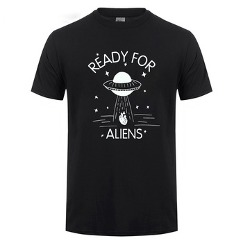 Ready For Aliens UFO Printed T Shirt For Men Women Casual O Neck Take Away The Heart Funny Cotton T-Shirt Tshirt Summer Tops Tee
