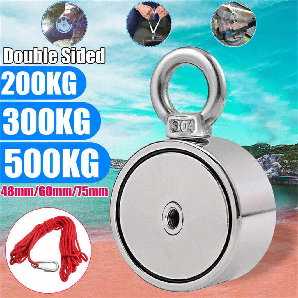 Double Sided Neodymium Fishing Magnets Strong 200/300/500KG Double Side Neodymium Metal Magnet Detector Fishing Kit+10M Rope