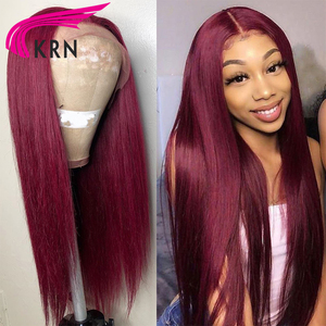 Image 4 - KRN 99J 13x6 Lace Frontal Human Hair Wigs With Baby Hair Straight Remy Brazilian Wigs Lace Frontal Wigs For Woman 180 density