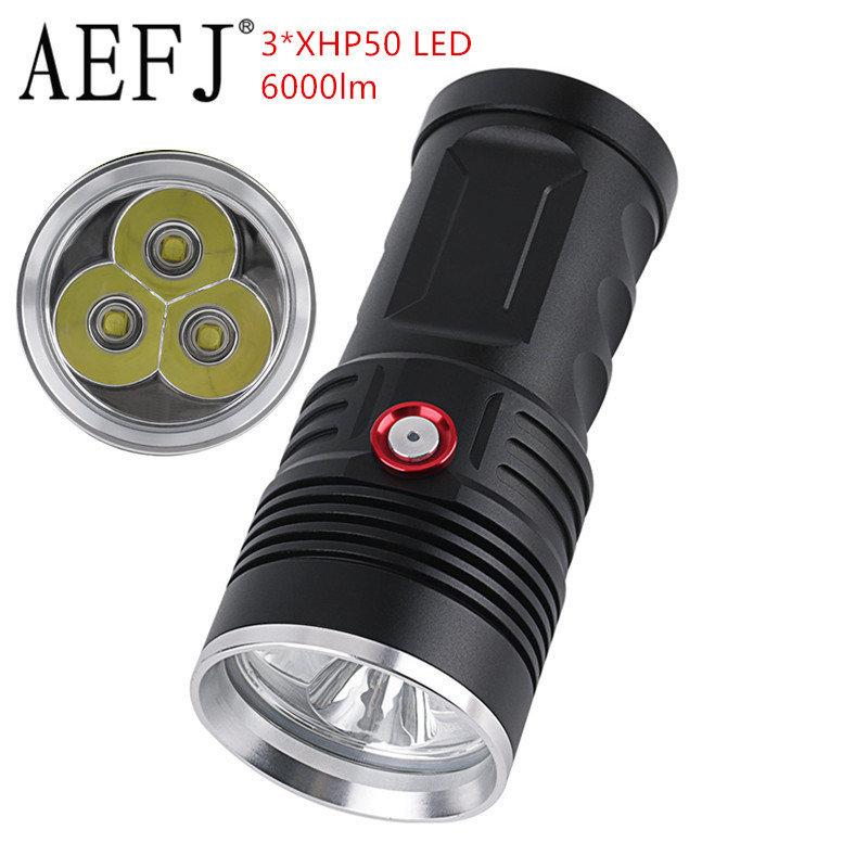 AEFJ 6000LM High Power Super Bright Flashlight 3*xhp50 Usb Rechargeable Waterproof Camping Tactical Torch Use 4*18650 Battery