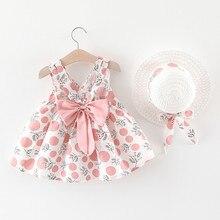 Летняя одежда для новорожденных девочек, милое платье принцессы без рукавов на бретельках с принтом в горошек и бантом, шапка с бантом, наря...