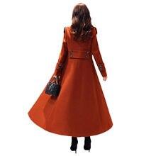 Женское длинное шерстяное пальто черное с поясом на талии x420