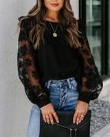 CHRONSTYLE Hemd Mode Frauen Schwarz Mesh Sheer Transparent Patchwork Langarm Bluse Stilvolle Chic OL Grundlegende Tops Floral Shirt