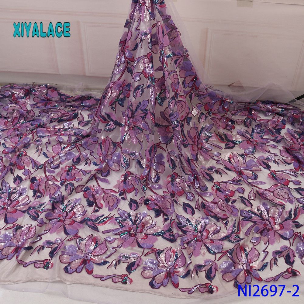 Purple Sequins Lace Fabric 2019 High Quality Lace Nigerian Lace Fabric For Women Dress African Tulle Lace With 5yards YANI2697-2