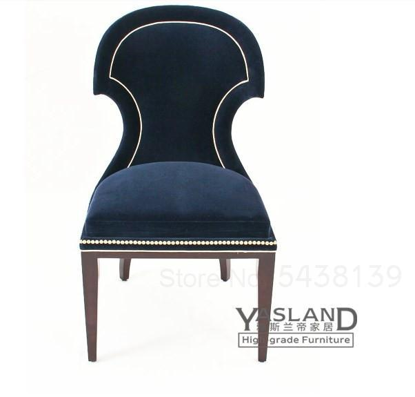 Nordic solid wood nail chair fabric dark blue dining chair American neo-classical personality creative single chair 2