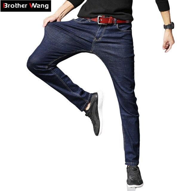2019 Nieuwe Mannen Klassieke Jeans Elastische Skinny Effen Kleur Denim Jean Mannelijke Blauw Slim Fit Broek Merk Kleding