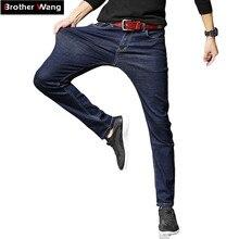 2019 חדש גברים הקלאסי ינס אלסטי סקיני מוצק צבע ג ינס ז אן זכר שחור כחול Slim Fit מכנסיים מותג בגדים