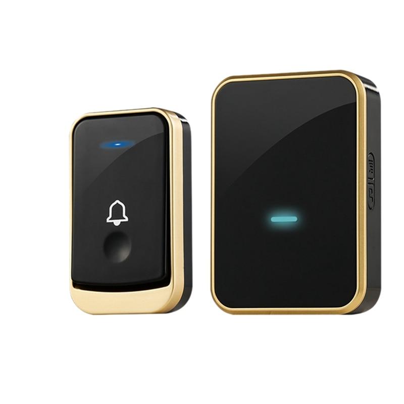 Waterproof Doorbell Intelligent Wireless Doorbell 300M Remote Smart Door Bell 45 Chimes(Eu Plug)