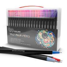 Cor fineliner caneta conjunto 80 cores 0.4mm arte marcadores esboço desenho canetas poroso ponto fino marcadores de coloração para arte esboçar caneta