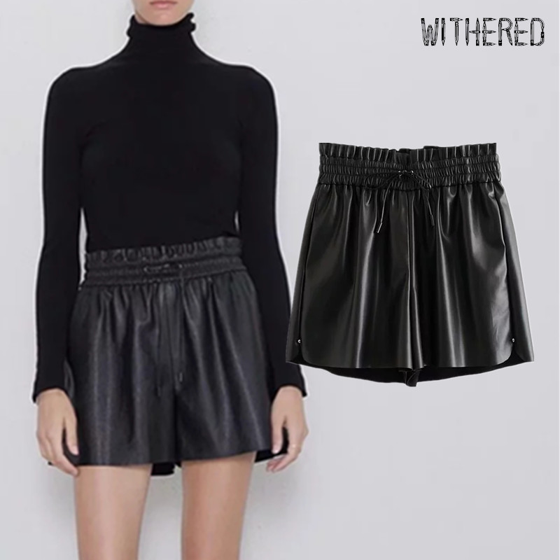 Withered Winter Leather Shorts Women England Vintage High Waist Elastic Waist Drawstring PU Short Feminino Plus Size Women Short