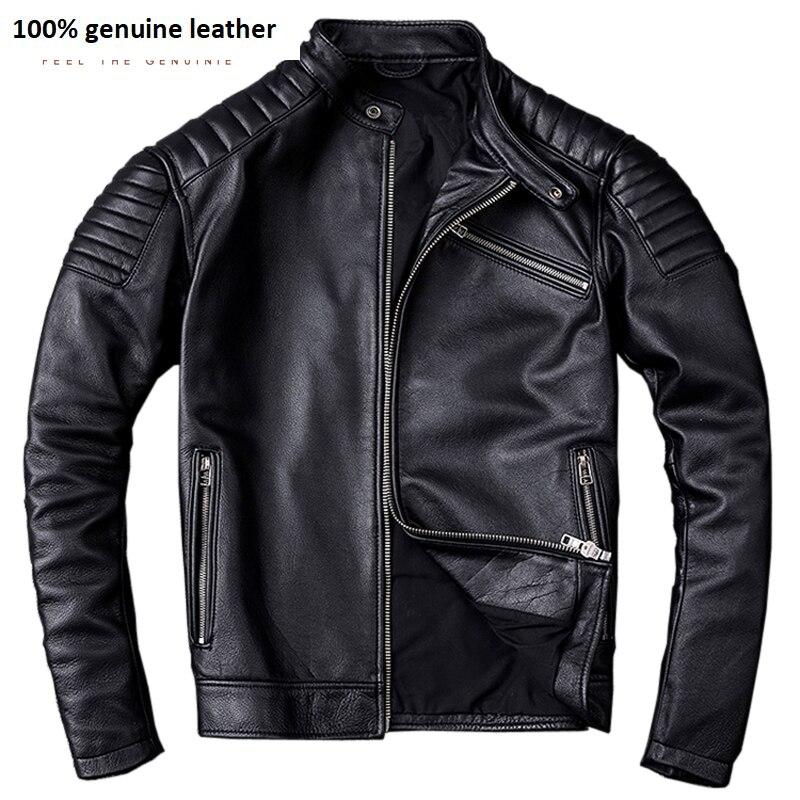 Vintage Leather Jacket Men Calf Skin Jackets Red Brown Black Moto Clothing Man Biker Coat Boy Leather Coat Slim M104
