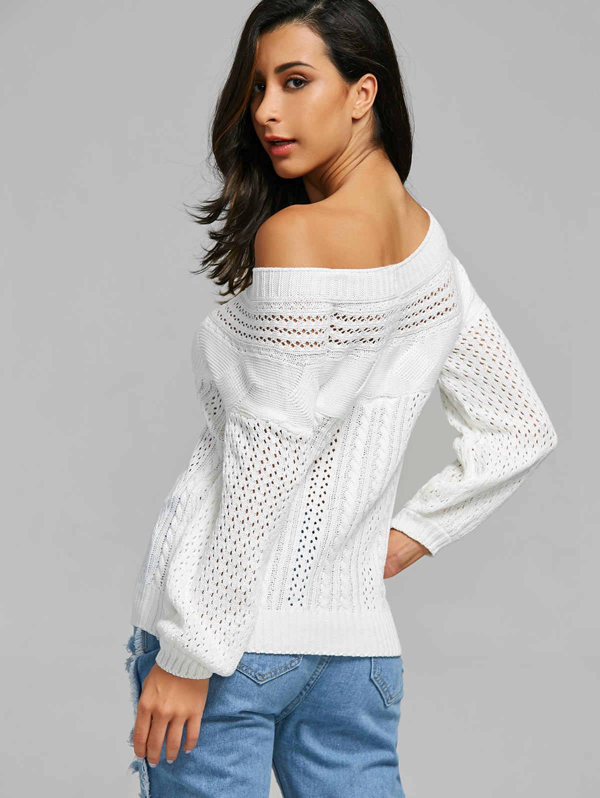 Wipalo Musim Gugur Musim Dingin Chic Perahu Leher Lengan Panjang Warna Murni Wanita Sweter Solid Kasual Lengan Panjang Sweter Rajut Wanita Atasan