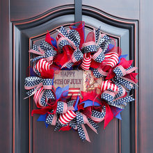 Independence Day Wreath American Flag Wreath Porch Signboard Home Decoration Pendant Bow Knot Wreath 40cm