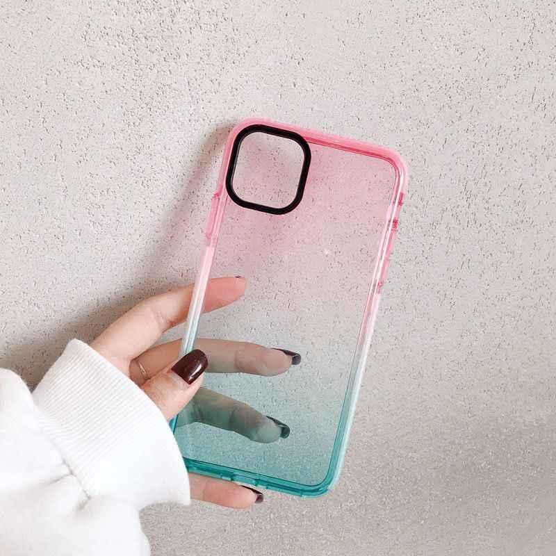 Gradiente à prova de choque caso de telefone para iphone 11 11 pro max xr xs max x 8 7 plus xs transparente macio anti-batido pára-choques capa traseira