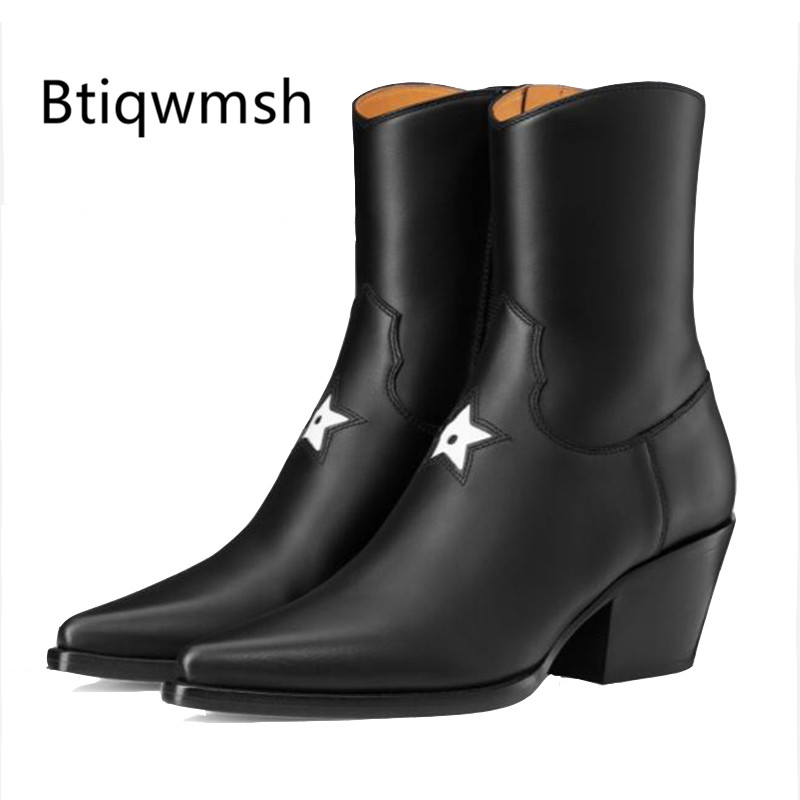 2019 Star Runway Ankle Boots Women Pointed Toe Black Cow Leather Embroidery High Heels Wedges Shoes Woman Fashion Martin Boots