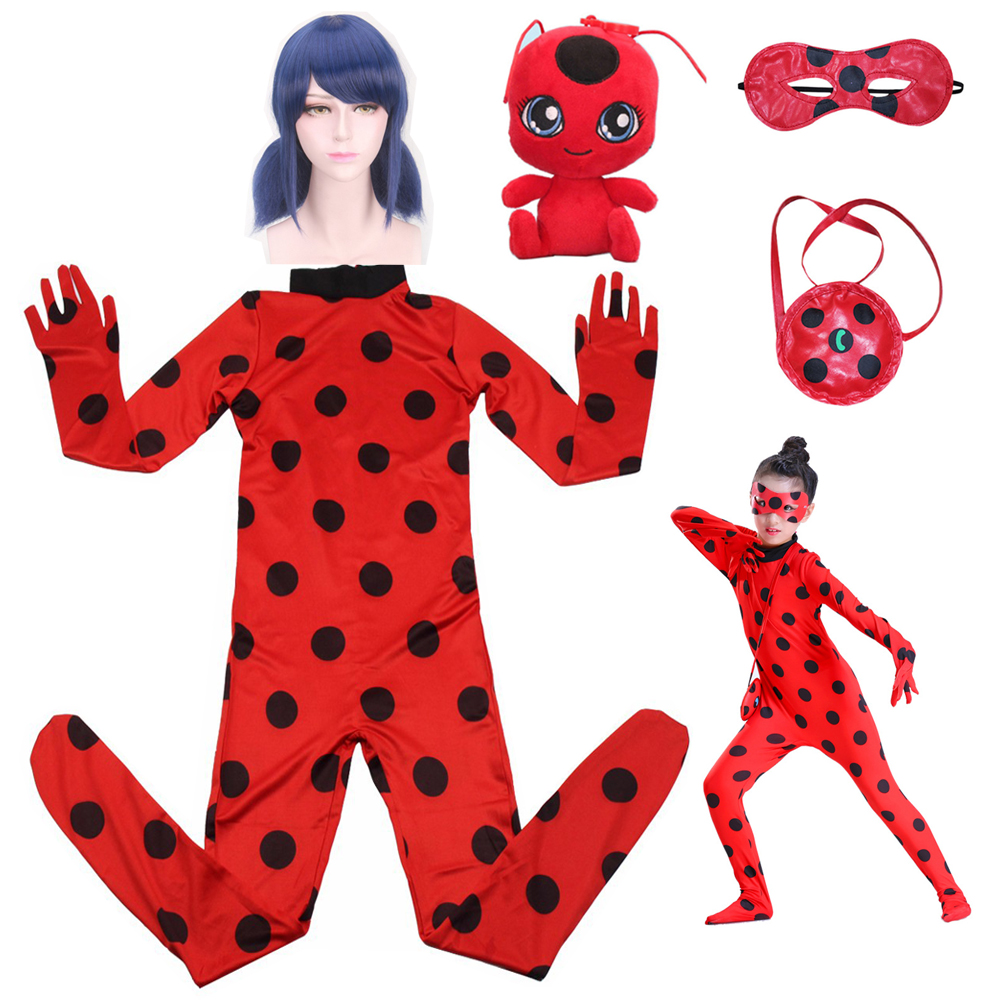 Fancy Lady Bug Easter Cosplay Jumpsuit Halloween Costumes Girls Children Spandex Ladybug Costumes For Kids Suit Wig Bag Girls