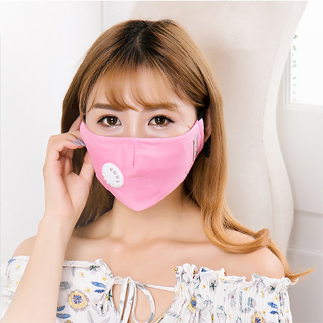 20PCS PM2.5 Korean version Anti-smoke mask cotton mask with breathing valve for men and women two repaceable dust-free filters 2