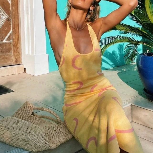 Sexy Knit Dress Women Y2K Yellow Print Bodycon Sleeveless Midi Backless Spaghetti Strap Dresses Summer Beach Robe Vestidos 2021 3