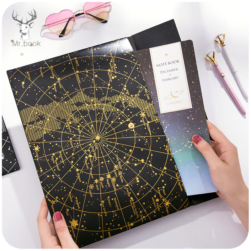 Creative Starry Sky File Folder A4 Document Bag Matte Black Transparent Thicken Scrub Bronzing Briefcase Bag Office Stationery