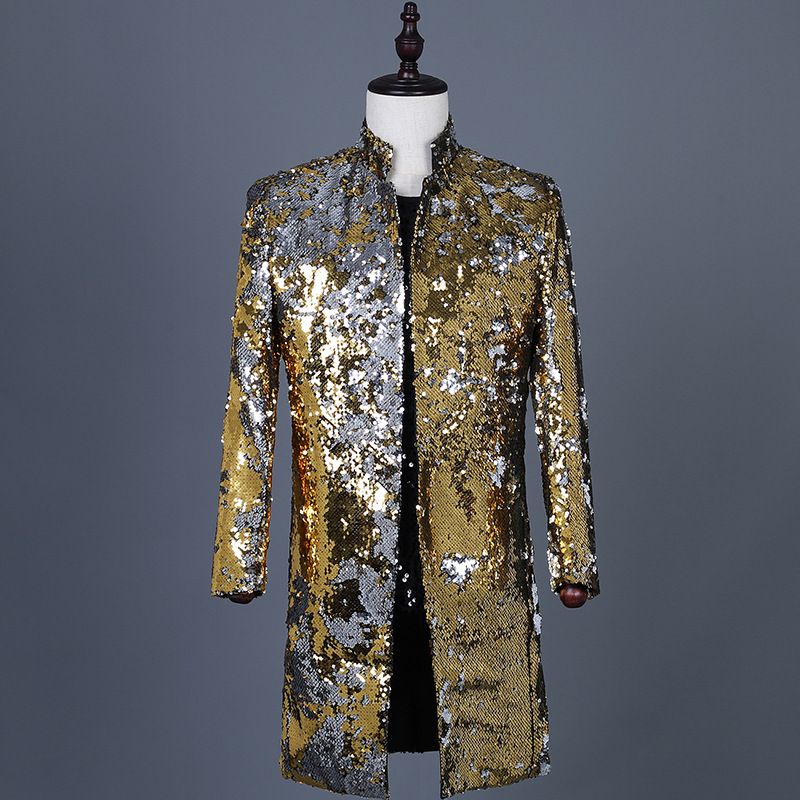 Shiny Gold Sequin Glitter Long Blazer Jacket Men Stand Collar Slim Fit Tuxedo Suit Blazers Mens Party Prom Stage Clothes Male