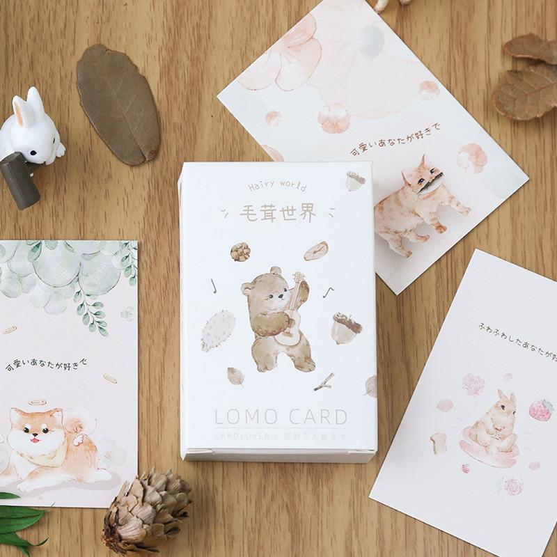 28 Sheets/Set Hairy World Series Lomo Card Cartoon Cat Bear Animals Mini Postcard Message Card Christmas Gifts