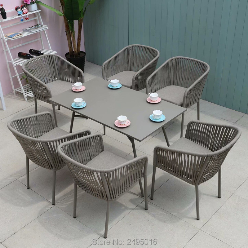 7-piece Outdoor Furniture Woven Rope Dining Set Gardentable And Chairs With Cushions All Weather,UV Resistant