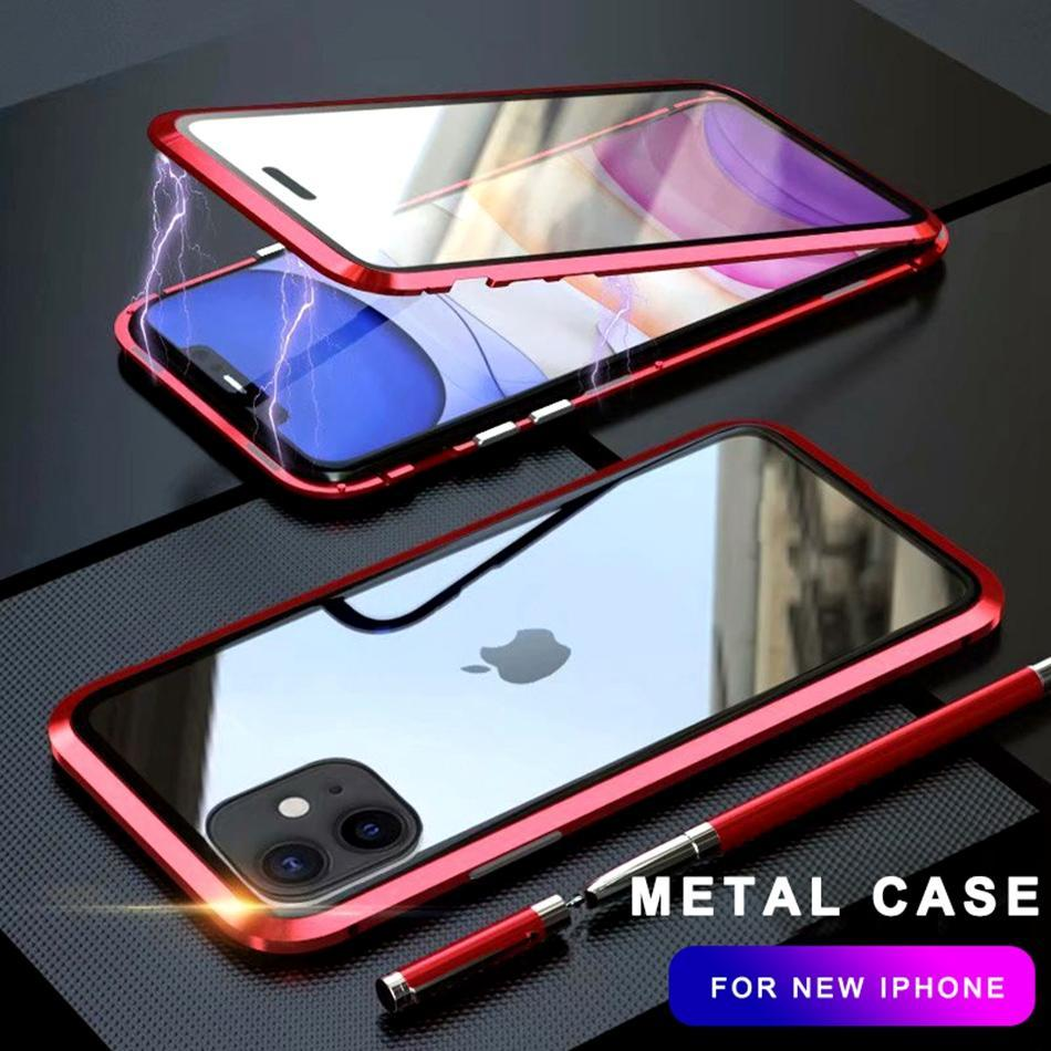 360 Metal Case for IPhone 6 7 8 Plus X XR XS MAX Case Magnetic Luxury Shockproof Tempered Glass Cover for IPhone 11 Pro Max Case image