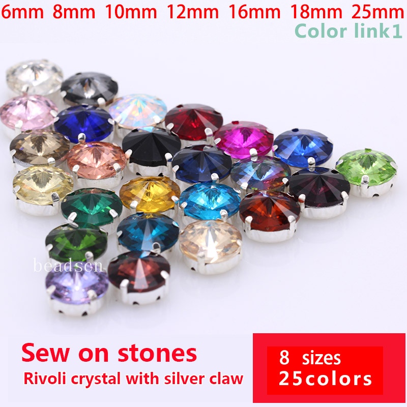25-Color 6-25mm Rivoli round sewing strass <font><b>glass</b></font> stone Sew On Crystal rhinestone diamante silver Claw buckle for clothes shoes image